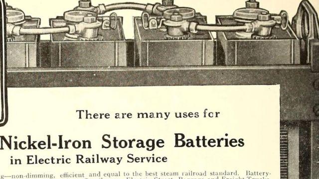 Krantenartikel waarin het gebruik van nikkel-ijzerbatterijen wordt uitgelegd.