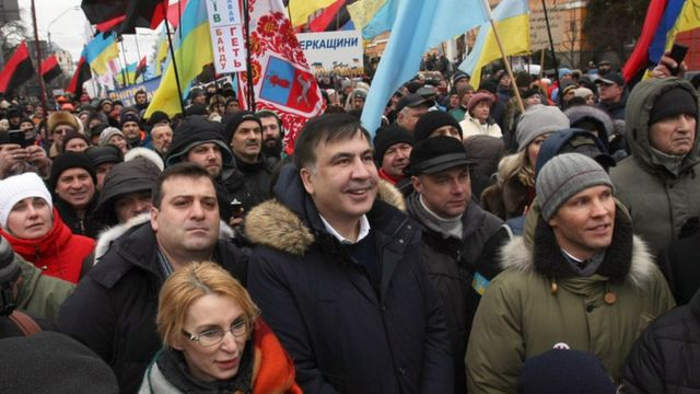 Міхеїл Саакашвілі на акції протесту у Києві