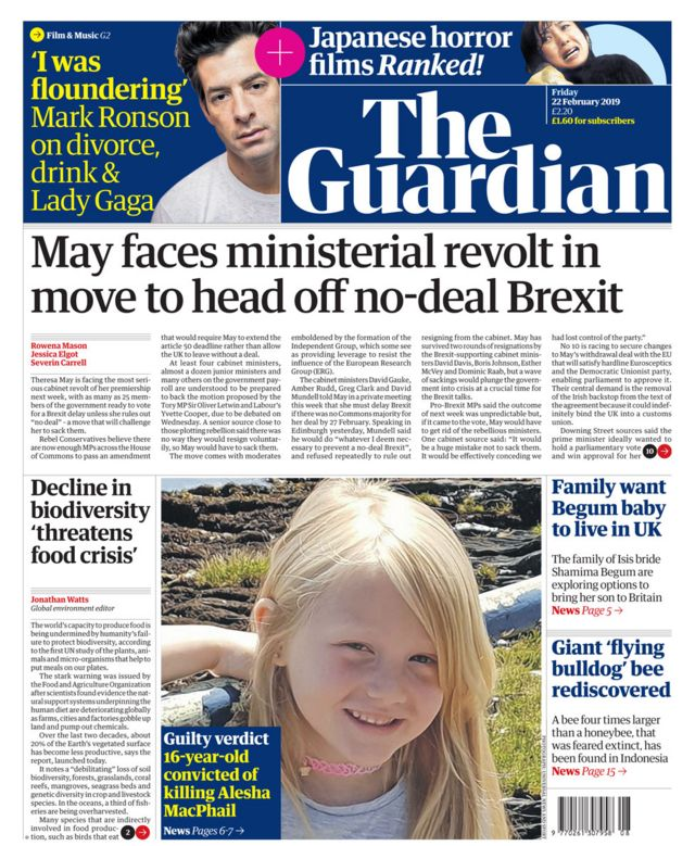 Newspaper headlines: Another Brexit revolt, and 'pure evil' teen