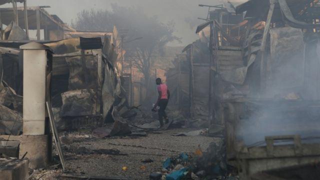 El campamento de refugiados de Moria después del incendio