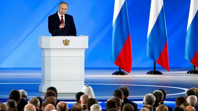 Russian President Vladimir Putin addresses the State Council in Moscow, Russia, January 15, 2020