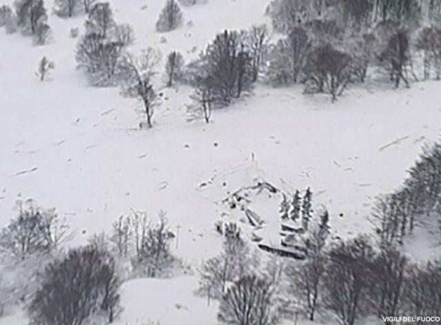 الانهيار الثلجي وطمر الفندق