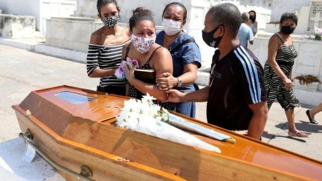 Enterro de vítima de covid-19 no Rio;