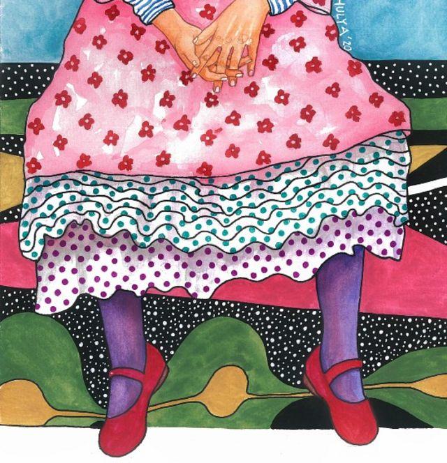 Ilustración que muestra a una niña hamacando sus piernas
