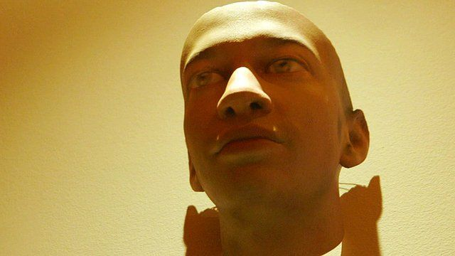 A 3D printed mask created by artist Heather Dewey-Hagborg