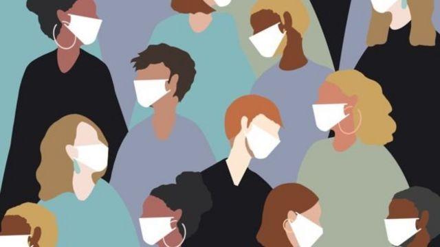 Ilustração de pessoas com máscara cirúrgica