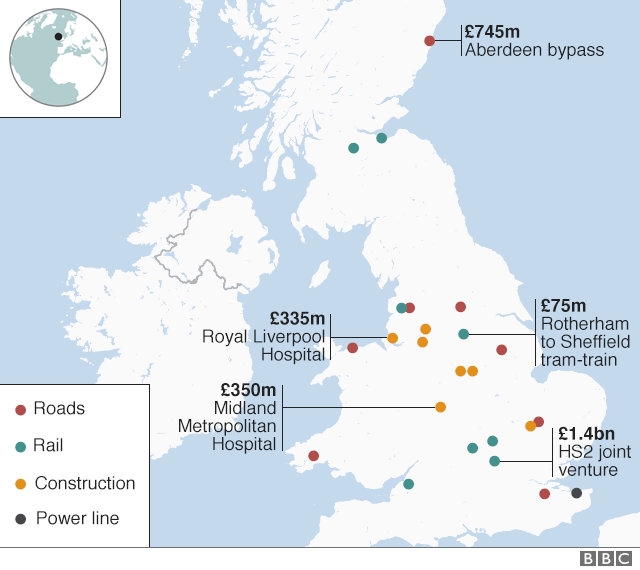 Map of Carillion's major construction projects in UK