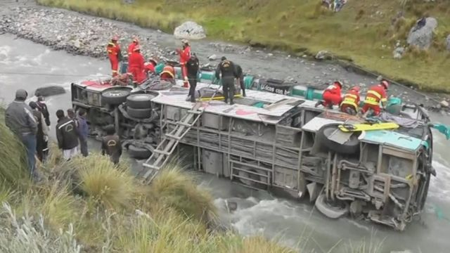 Emergency services work to rescue passengers