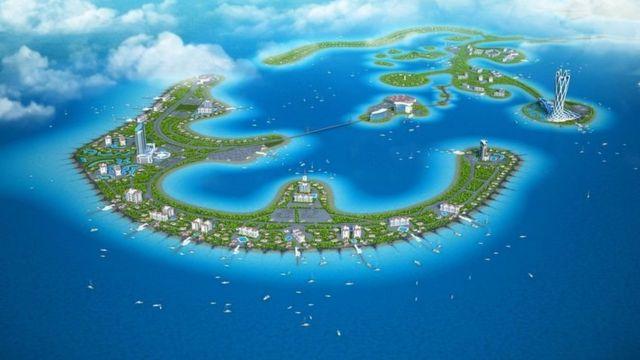 Un boceto de las islas Atlantis, donde estaría ubicada su capital: la ciudad inteligente de San Nicolás. Foto: Imperio Romanov.