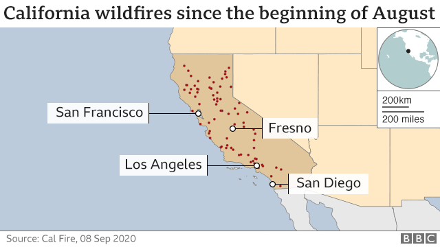 Map of fires