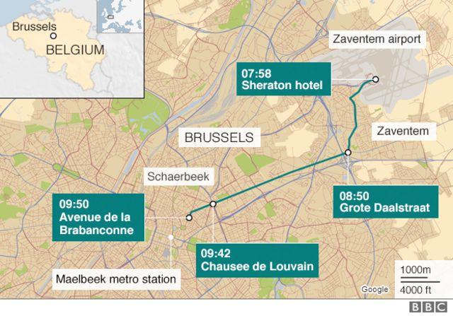 「帽子の男」が空港からブリュッセル市内まで移動した経路
