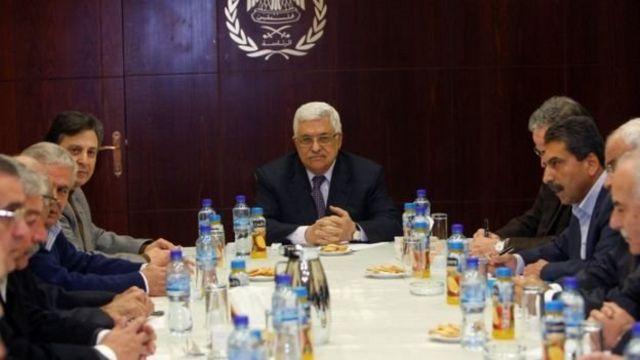 محمود عباس في اجتماع اللجنة التنفيذية لحركة فتح