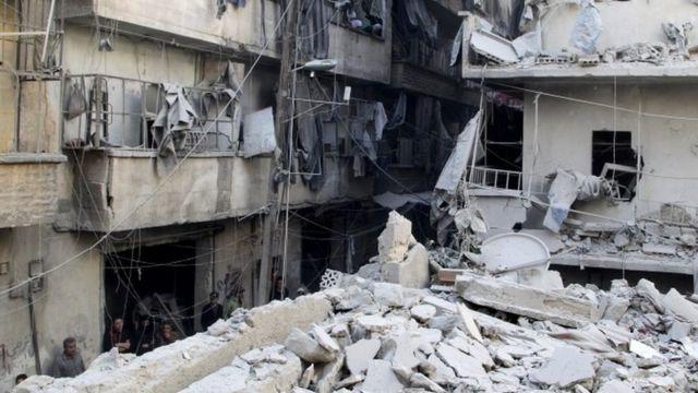 空爆を受けたシリア北部アレッポの反体制派の掌握地域(今月11日)