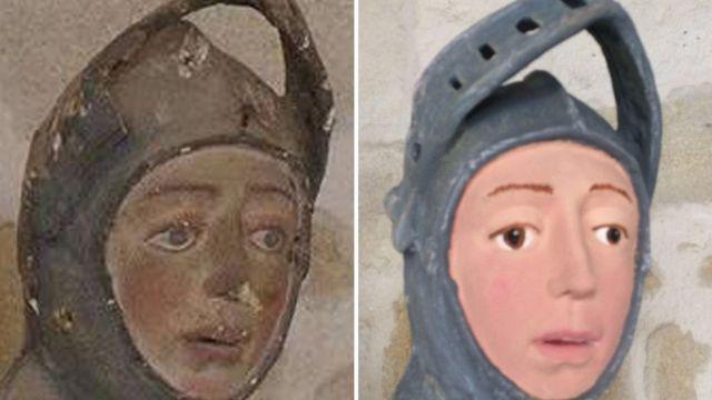 Escultura de São Jorge antes e depois da restauração