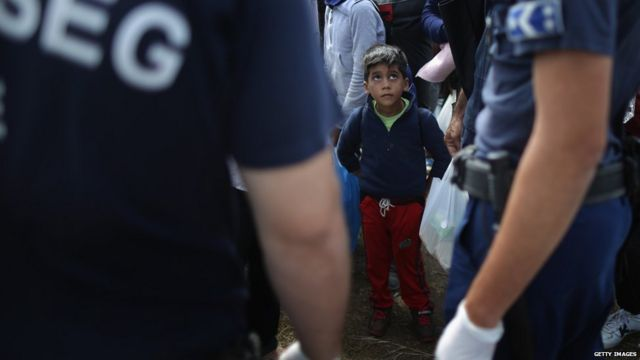 A migrant boy in Hungary