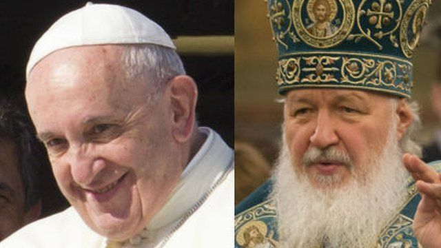 Pope Fracis of the Roman Catholic Church and Patriarch Kirill of the Russian Orthodox Church