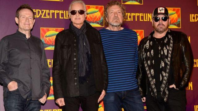Джон Пол Джонс, Джимми Пейдж, Роберт Плант и Джейсон Бонэм на презентации фильма Celebration Day с записью концерта в декабре 2007 года в лондонском зале 02.