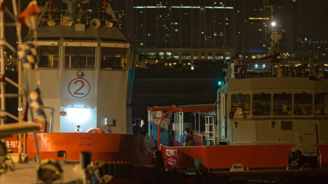 Rescue boats at Government Pier in Hong Kong (26 Oct 2015)