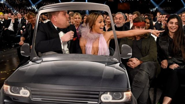 Host James Corden and singer/actress Jennifer Lopez carpool karaoke during The 59th GRAMMY Awards in Los Angeles, California - 12 February 2017.