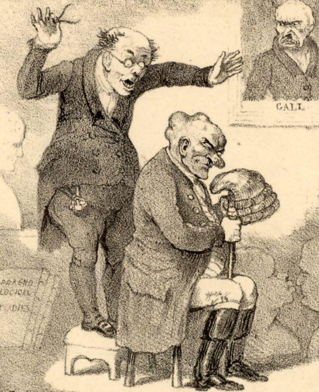 """Un frenólogo asombrado por la cabeza de su sujeto. Caricatura titulada """"El órgano más milagroso"""" de Robert Seymour (1800-1836) en el apogeo de la locura por la frenología."""