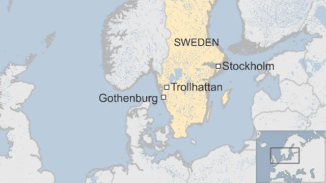 Map of Sweden showing Trollhattan location
