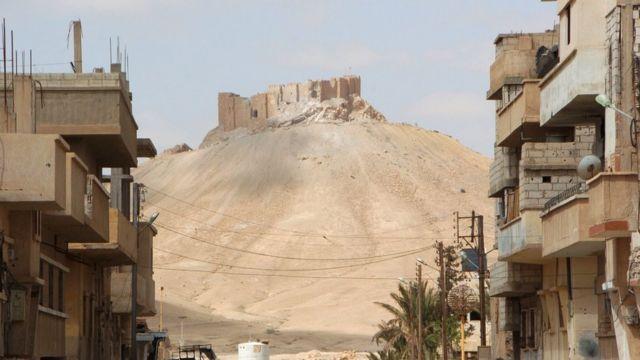 近くの住宅地から見上げるパルミラの城塞(27日)