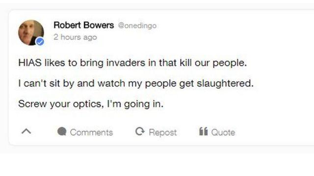 Robert Bowers post on Gab