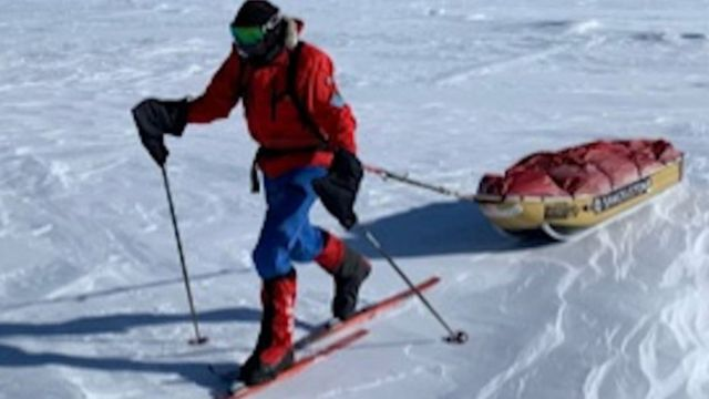 Capt Rudd sent voice despatches from the ice along his journey