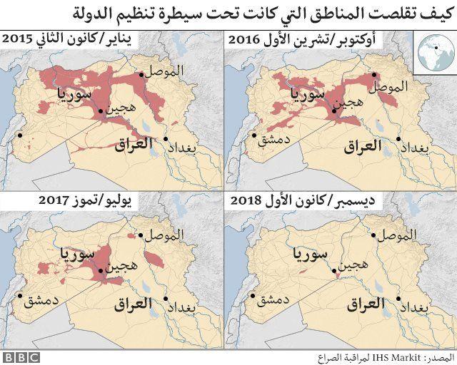 """تقلص مناطق سيطرة تنظيم """"الدولة الإسلامية""""."""