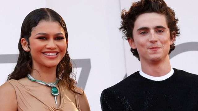 Dune stars Zendaya and Timothée Chalamet posed for pictures on the red carpet at Venice International Film Festival on Friday