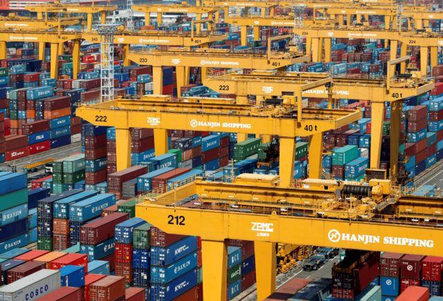 Contenedores de la compañía Hanjin Shipping