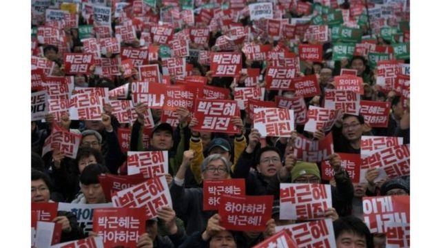 محتجون في كوريا الجنوبية