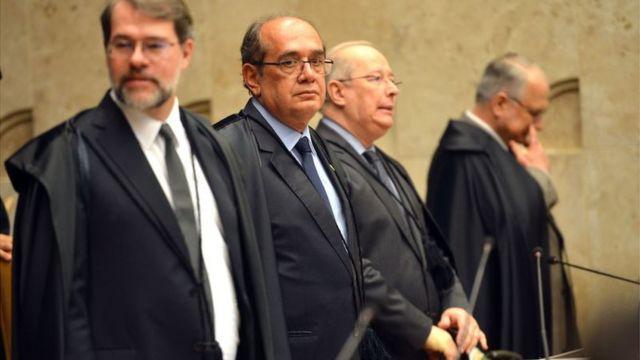 Os ministros do Supremo Dias Toffoli, Gilmar Mendes, Celso de Mello e Edson Fachin