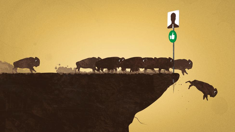 Ilustração reproduz efeito de comportamento de manada
