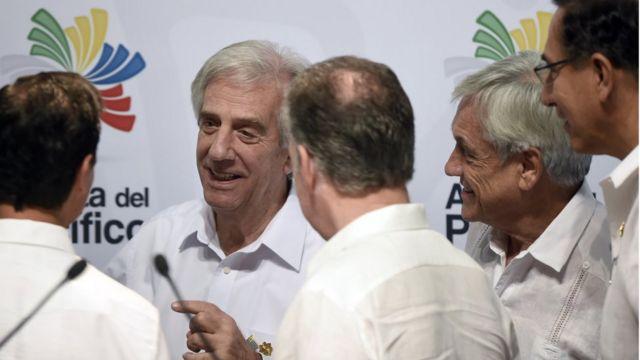 Presidentes de la Alianza del Pacifico y el Mercosur.