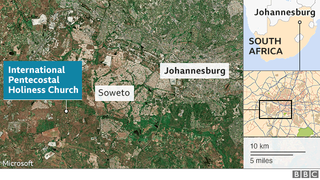 A map showing where the church is in South Africa