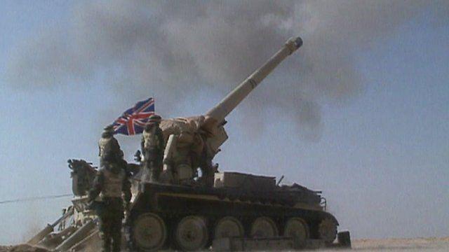 Tank firing gun during first Gulf War