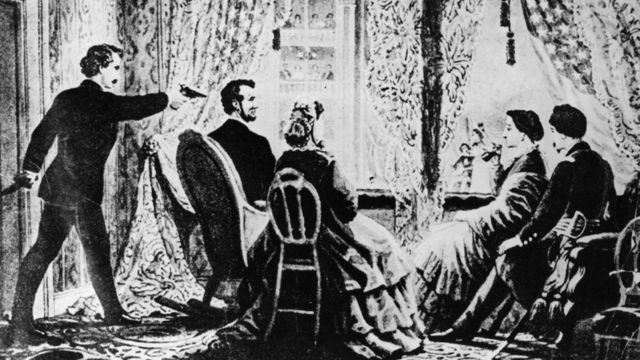 Escena de la muerte de Abraham Lincoln