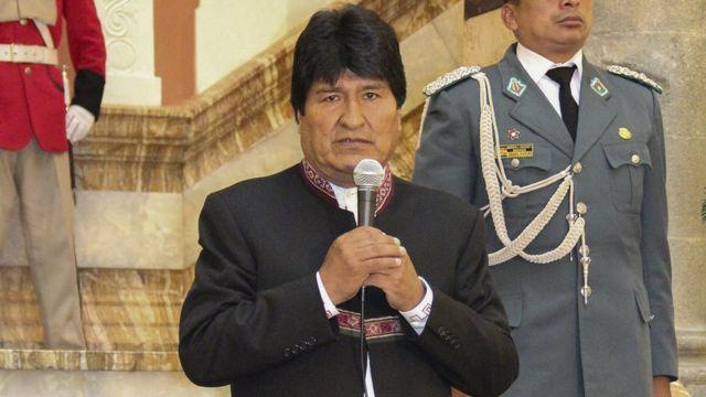Evo Morales en Palacio de Gobierno.