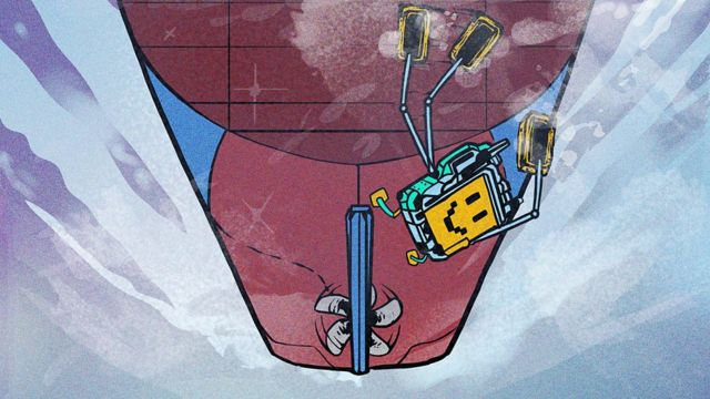 Ilustración de un robot limpiando el casco de un barco mercante