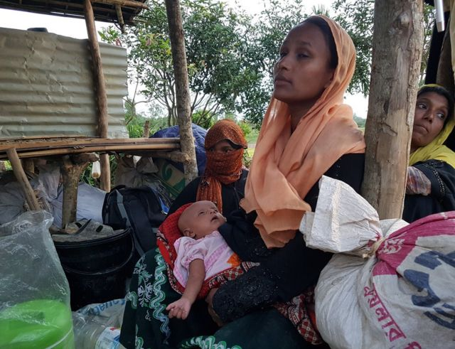 Rohingya woman and baby