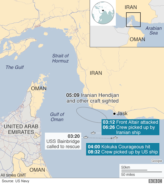 Map showing the locations of two vessels attacked in the Gulf of Oman on 13 June 2019