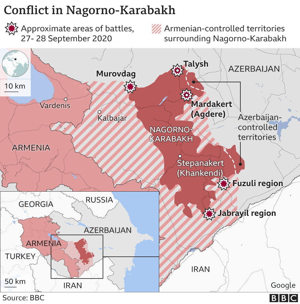 Map showing conflict in Nagorno-Karabakh region