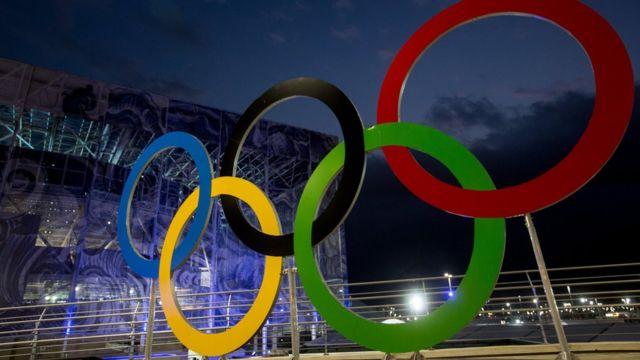 Aneis olímpicos no Parque Olímpico