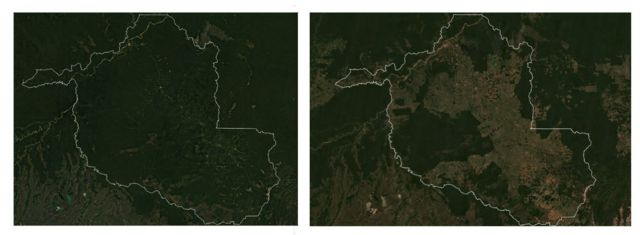 Imagens de satélite mostram avanço do desmatamento em Rondônia