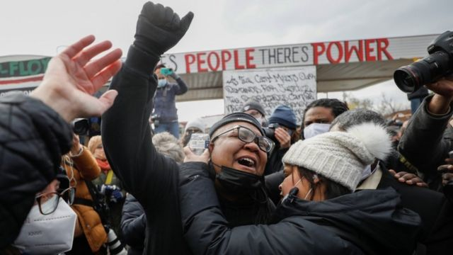 People react after the verdict in Minneapolis. Photo: 20 April 2021