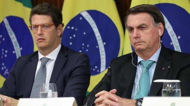 Bolsonaro e Ricardo Salles na cúpula climática convocada por Joe Biden, na semana passada