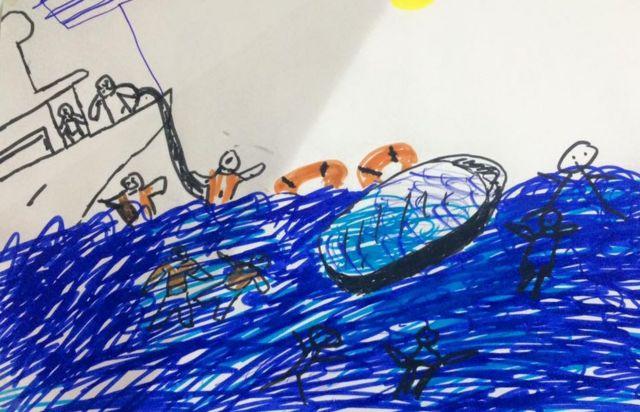 Dibujo de gente ahogándose