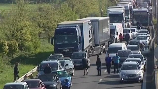 Traffic jam on the A16 near Dunkerque, France.