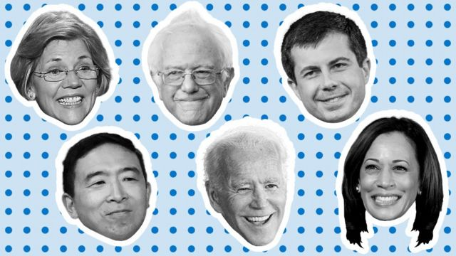 Elizabeth Warren, Bernie Sanders, Pete Buttigieg, Andrew Yang, Joe Biden and Kamala Harris